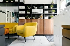Modern Living Space with Yellow Seating